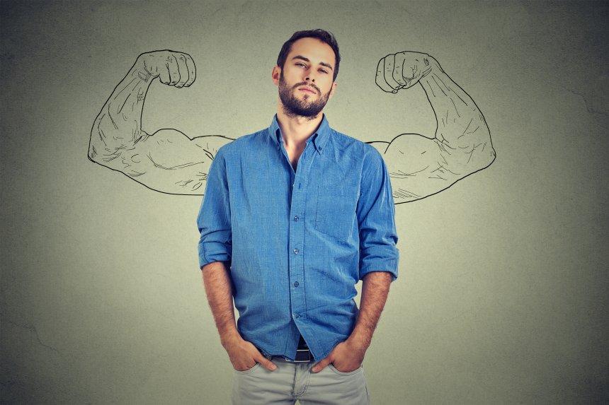 Gründer mit fiktiven Muskeln