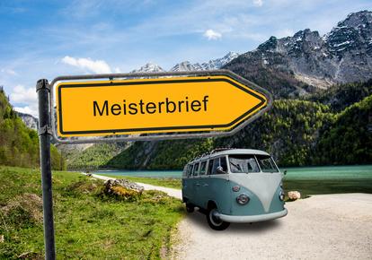 Schild Meisterbrief mit Fahrzeug