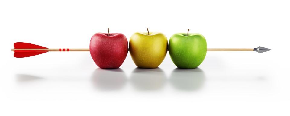 Pfeil bunte Äpfel Treffer
