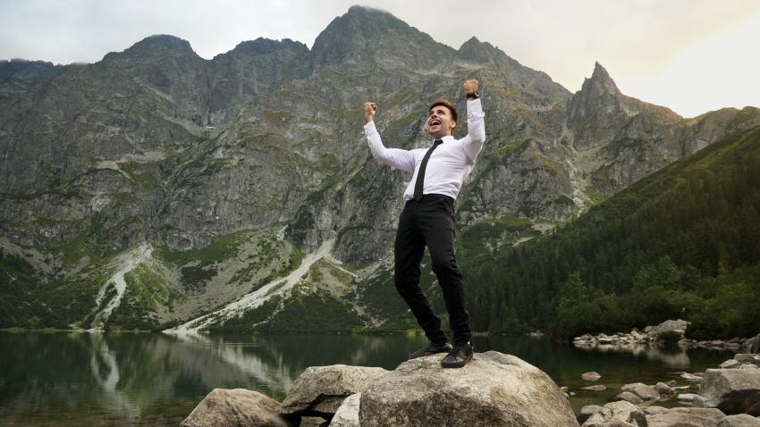 Unternehmer frei in der Natur