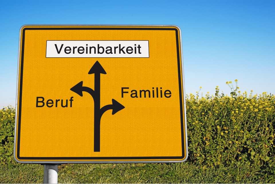 Schild mit Pfeilen Vereinbarkeit Beruf Familie