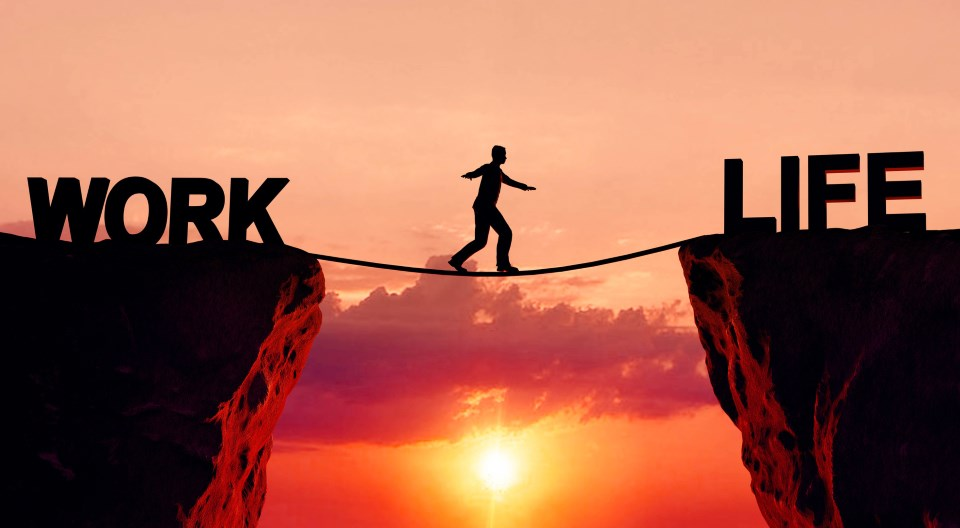 Work Life Balance - Mann auf Seil