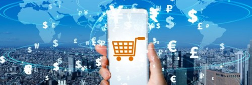 smartphone mit shopping cart