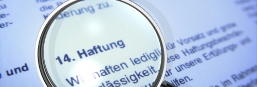 Haftung Text Lupe